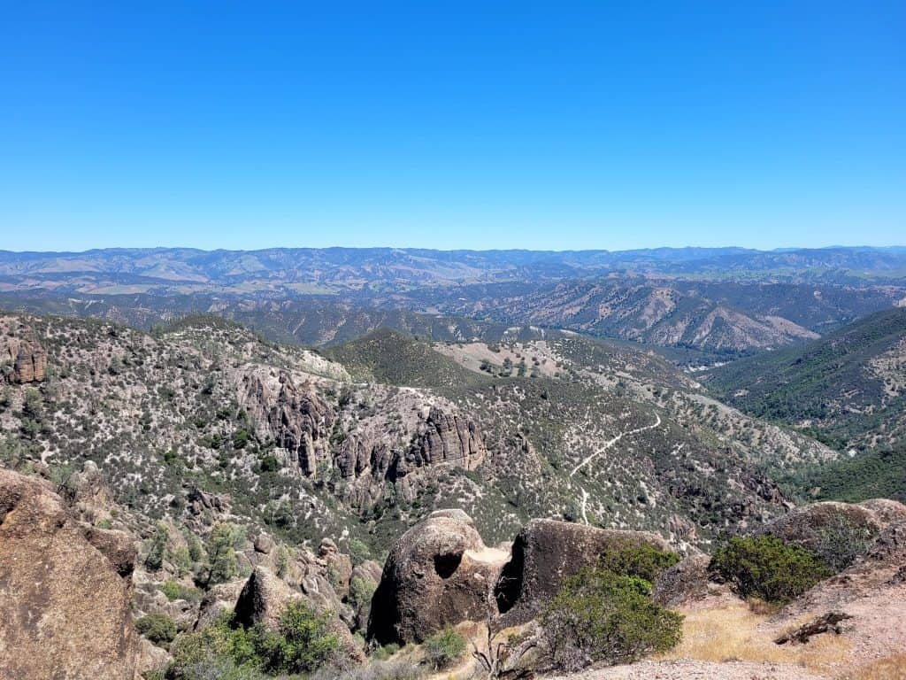 the view is amazing from steep and narrow trail in pinnacles and worth challenging your fear of heights