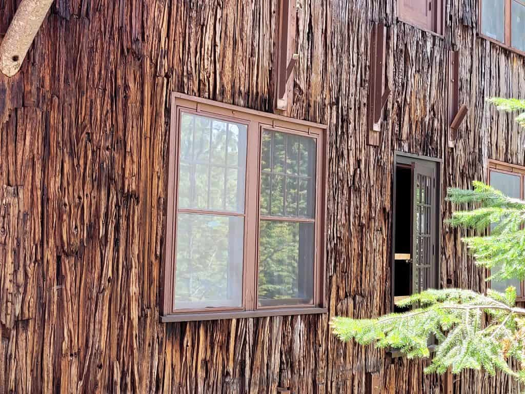 port orford bark siding on historic chateau in oregon caves