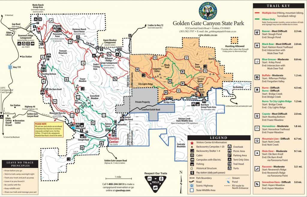 official golden gate canyon state park trail map