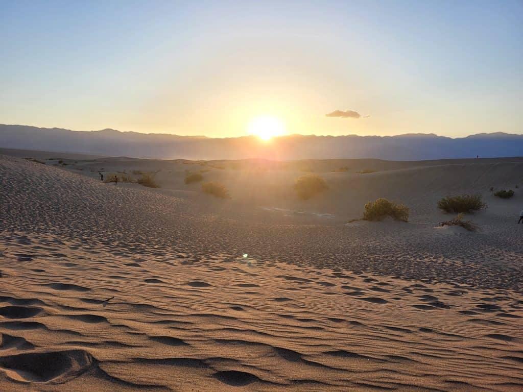 sunset at mesquite sand dunes