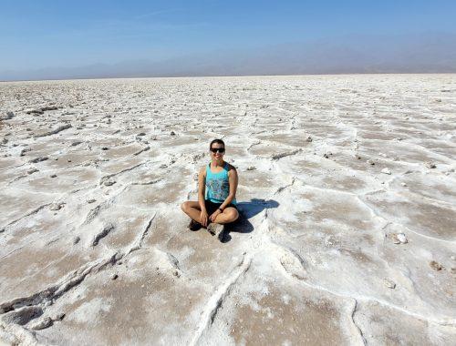 kara at badwater basin in death valley