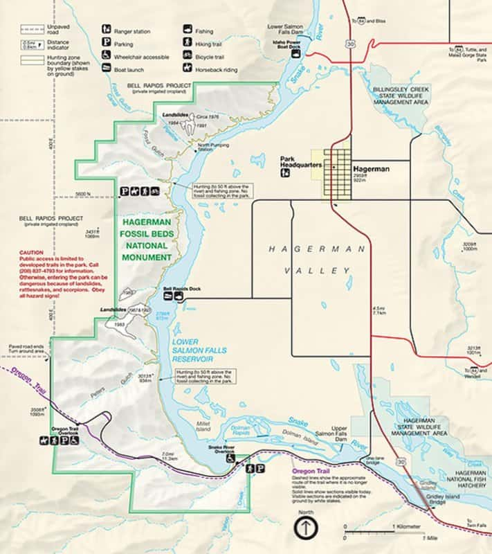 official NPS map of Hagerman Fossil Beds