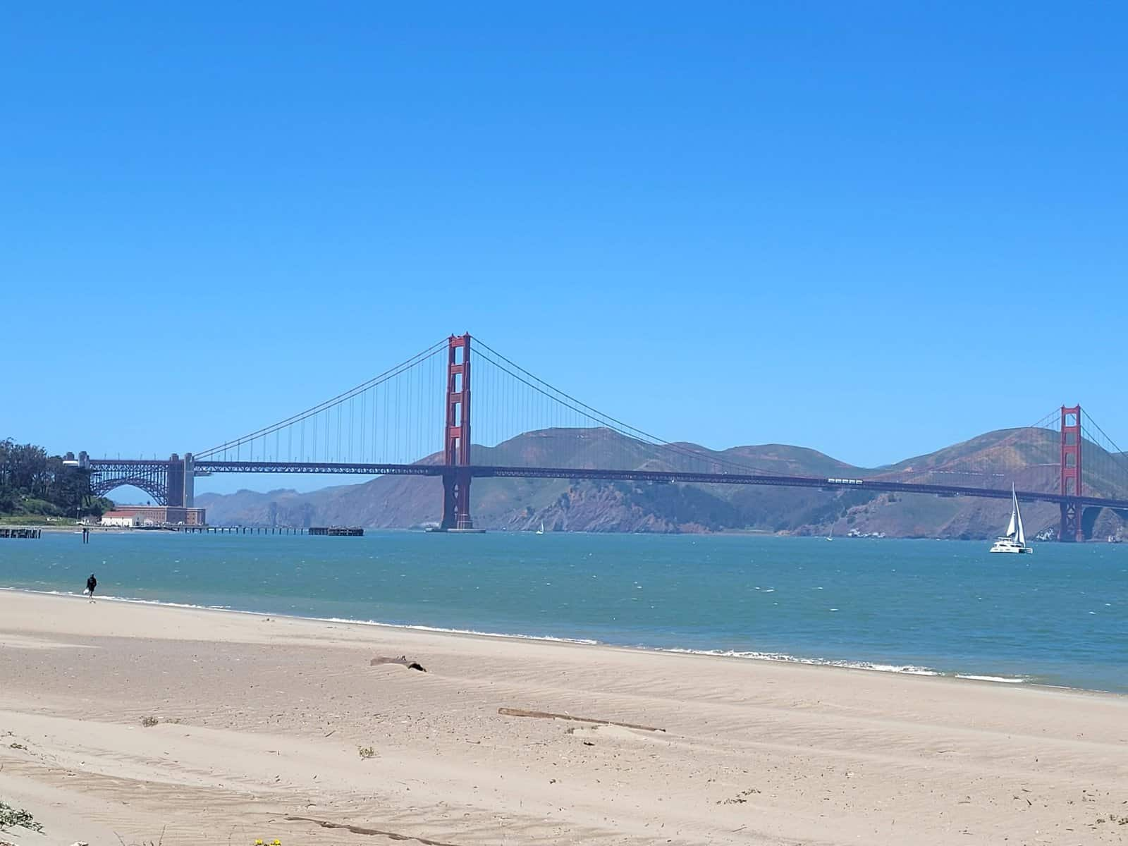 chrissy field east beach at presidio in san francisco offers great view of the golden gate bridge