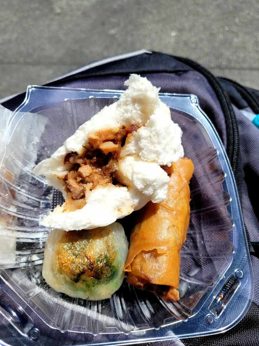 We enjoyed our sampling of tasty food from a chinatown bakery in Portsmouth Square.