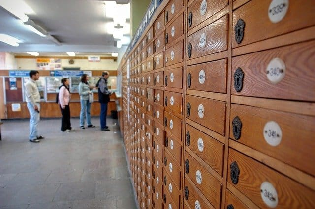 mailboxes and lines at post office
