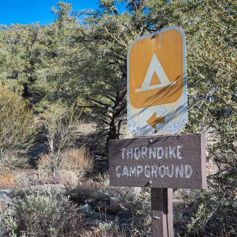 thorndike campground sign at detah valley