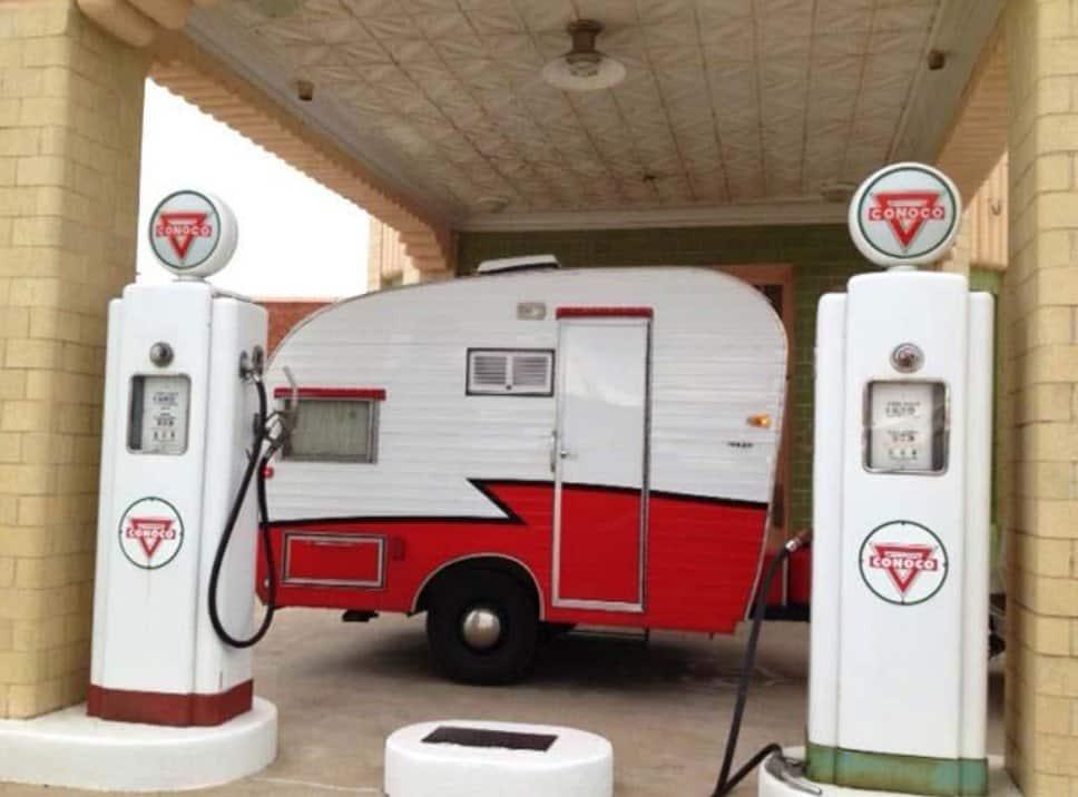 vintage RV at diesel fuel pumps before cards