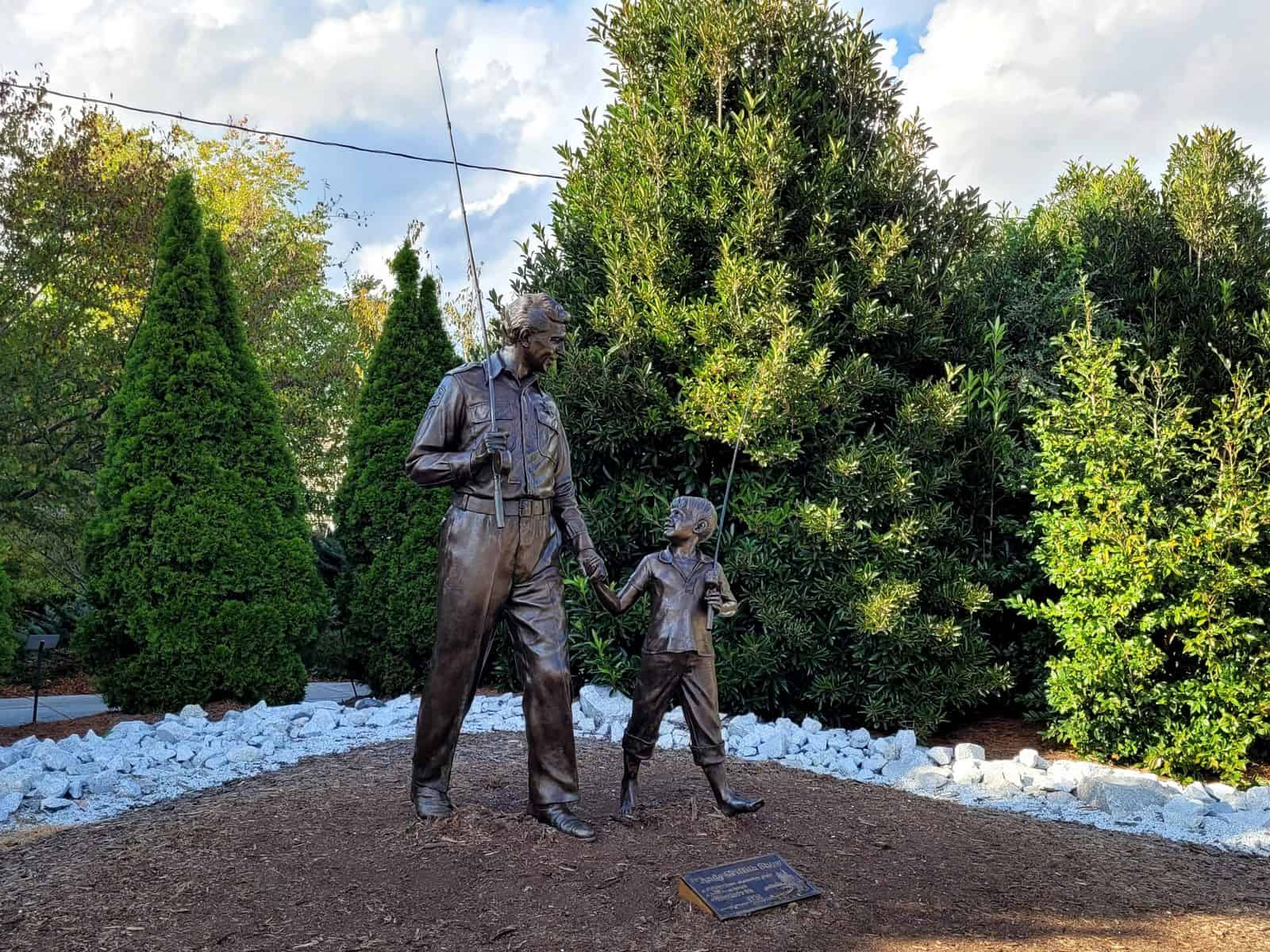 tvland andy and opie statue in mount airy nc